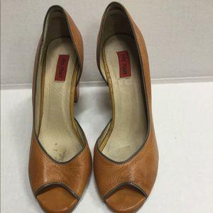 Leather peep toe heels